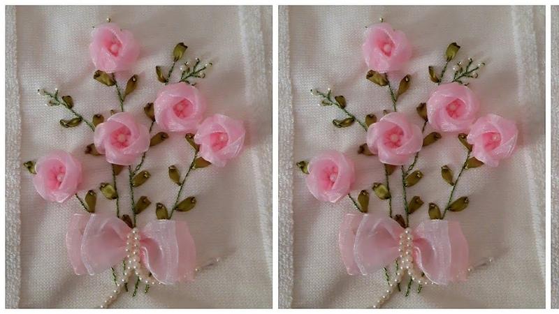 Özlem Topal Organze ipek kurdale zarf gülü Havlu Nakışı