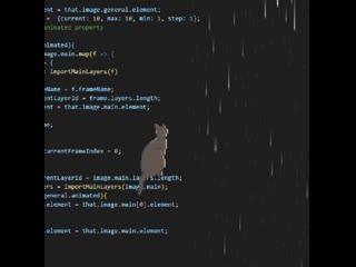 Кот смотрит на дождь, сидя на коде, которым это всё нарисовано