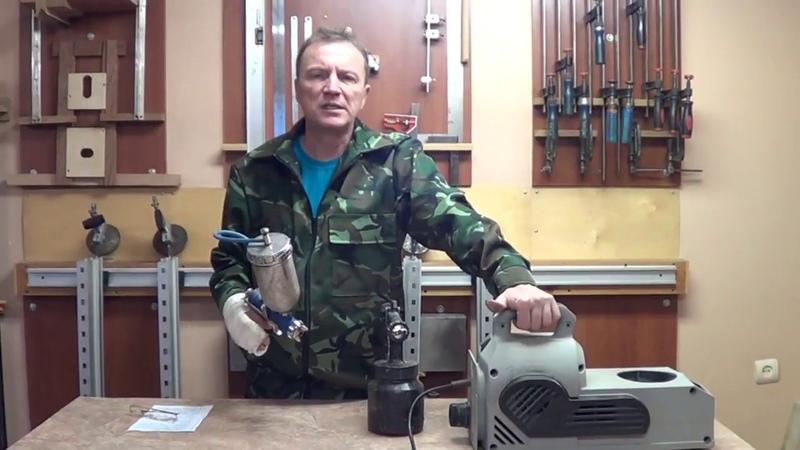 Покрасочная камера HVLP в небольшой мастерской.HVLP spray booth in a small workshop.
