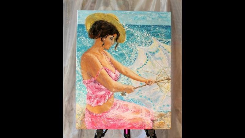 Картина. Девушка и игривая волна. Рисовать акрилом.