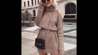Женское трикотажное платье свитер, облегающее теплое платье водолазка с открытыми плечами, модель d20 на осень и зиму, 2019