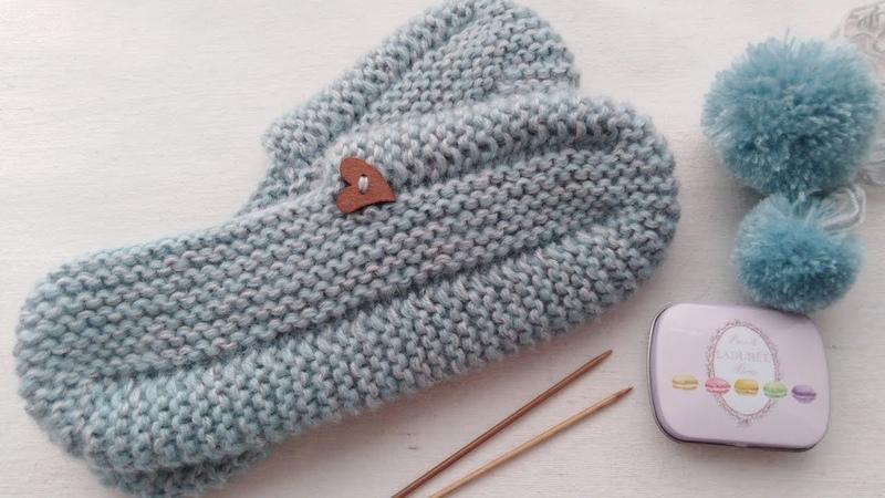 Вязание. Тапочки-следочки, за пару часов. Подробный мк. Knitting. Master class.