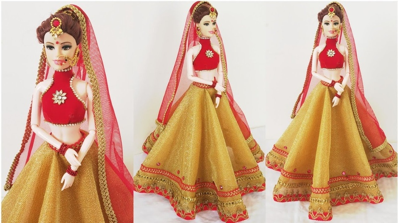 Designer Lehenga Making For BarbieDIY Bridal Costume Jewellery For BarbieBridal Doll Decoration