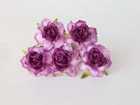 000024 Кудрявые розы 4 см фиолетовые 2-тоновые  1 шт - 23 руб  диаметр 4 см высота 2 см длина стебля 7 см