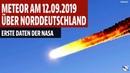 Meteor am 12 09 2019 über Norddeutschland explodiert Erste Daten der NASA