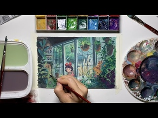 Studio Ghibli Kiki's Delivery Service gouache painting process