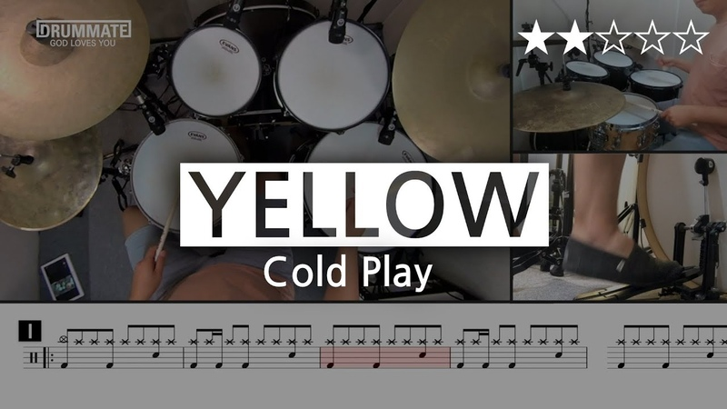 010 Yellow Cold Play  ★★☆☆☆ Drum Cover Score Sheet Music Lessons Tutorial DRUMMATE
