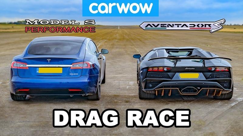 Lamborghini Aventador vs NEW Tesla Model S Performance DRAG RACE