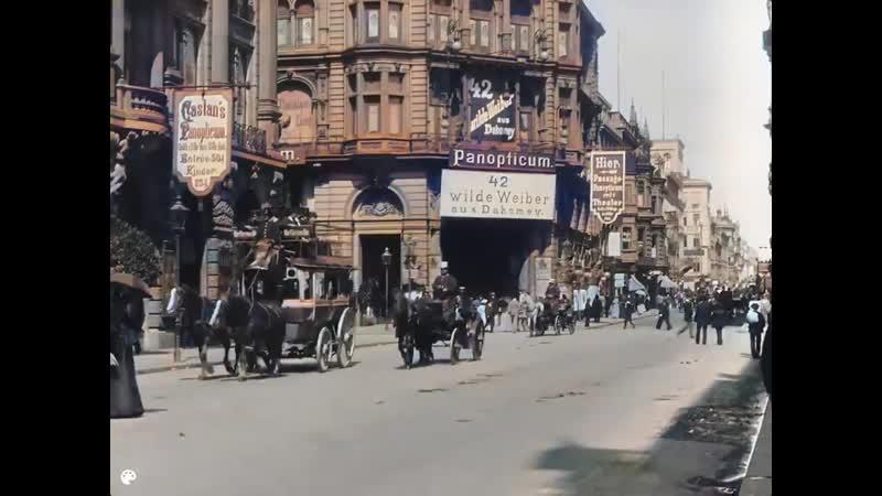 Летний день на Фридрихштрассе в Берлине раскрашенная кинохроника 1896 года