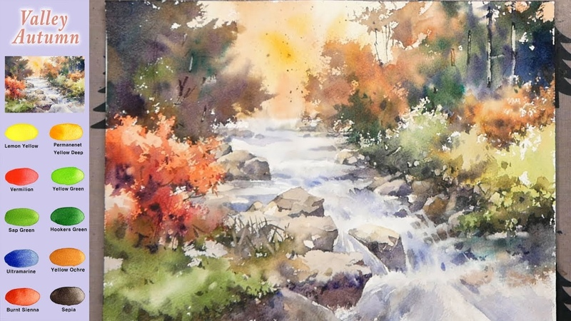 Without Sketch Landscape Watercolor Valley Autumn color mixing Arches NAMIL ART