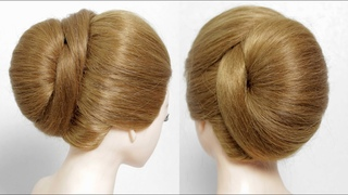 Easy bridal hairstyle for long hair. French Bun Tutorial hairstyle