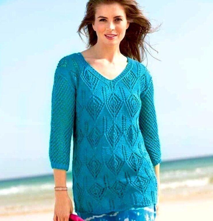 Удлиненный бирюзовый пуловер