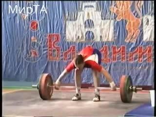 г. Владимир Чемпионат ЦФО России 2005 год. Татьяна Каширина рвет 92 кг в возрасте 14 лет в вес кат до 69 кг!