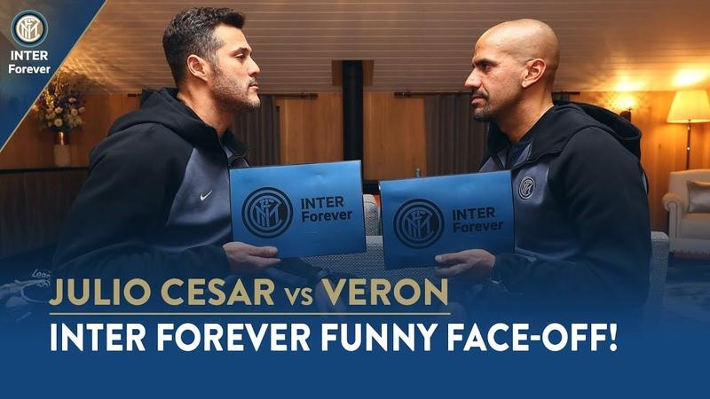 INTER FOREVER FUNNY FACE OFF JULIO CESAR vs VERON 😁🇧🇷🇦🇷⚫🔵