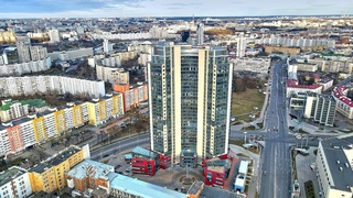 Облет первого небоскреба в Минске - ЖК Парус