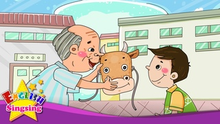 A Lazy Boy Who Became a Cow - What are you doing? (present progressive) - English story for Kids