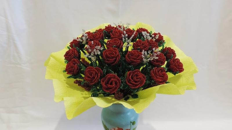 Розы из бисера Часть 4 Букет из бисера