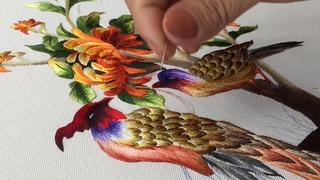 Hand Embroidery Art: Couple Peacocks and Chrysanthemum Flowers