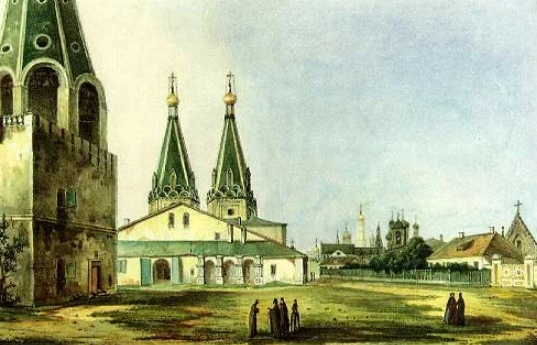 Алексеевский монастырь. Картина Карла Рабуса, 1838