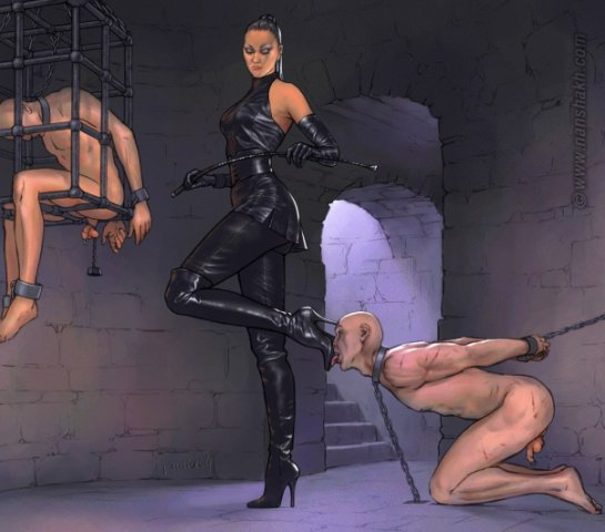 Chap Gets Walked Around On A Chain In Some Hot Femdom Action