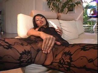 Bobbi in a black lace body suit
