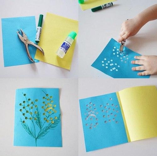 открытки сделанные при помощи дырокола
