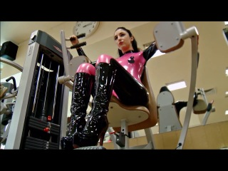 Marilyn yusuf - working out in latex catsuit at the gym