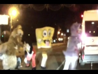 Mickey Mouse and SpongeBob beat up Russian driver in Internet hit
