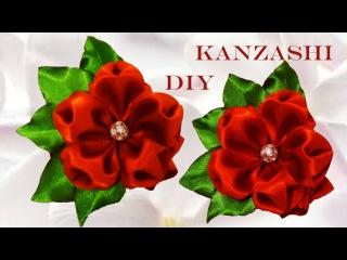 DIY Kanzashi flowers in satin ribbons - flores copos de rubí en cintas