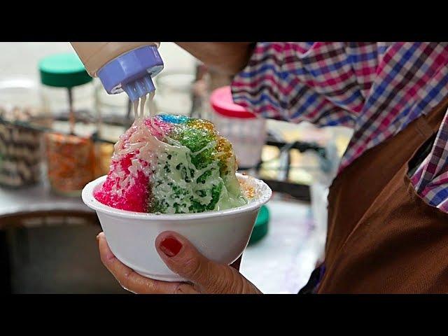 Bangkok Street Food RAINBOW SHAVED ICE DESSERT Thailand