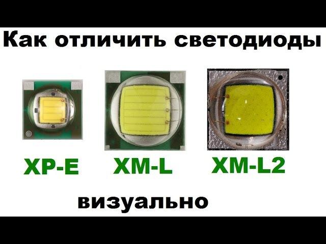 Как отличить светодиоды CREE XM-L T6, XM-L2 U2 и XP-E Q5 визуально (внешние различия)