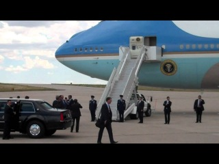President Obama Arrives in Aurora on Air Force One,
