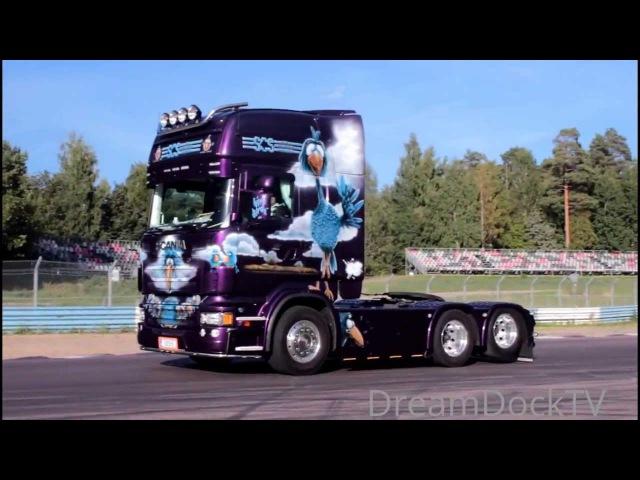 Nordic Trophy 2013 arrival of the trucks Trailer Trucking Festival V8 truck meet Mantorp