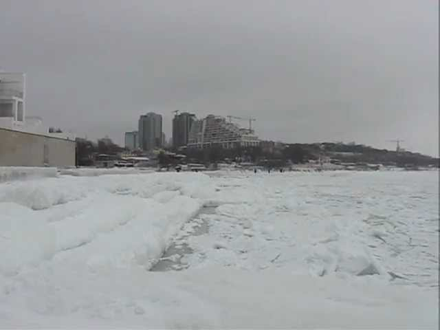 Как скрипит замерзшее море Одесса февраль 2012 Frozen sea