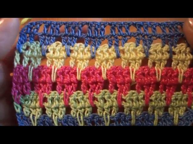 Длинные столбики с одним накидом Вязание крючком Урок 21 Crochet Long columns with one trebles