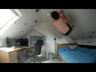 My loft bedroom climbing / bouldering overhang wall at home GoPro HD Hero