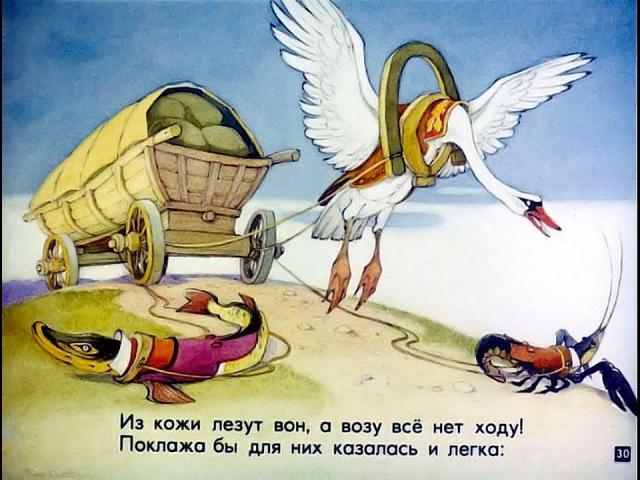 Лебедь щука и рак Басня И А Крылова Диафильм