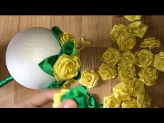 Желтая роза _ ТОПИАРИЙ своими руками из ленточек