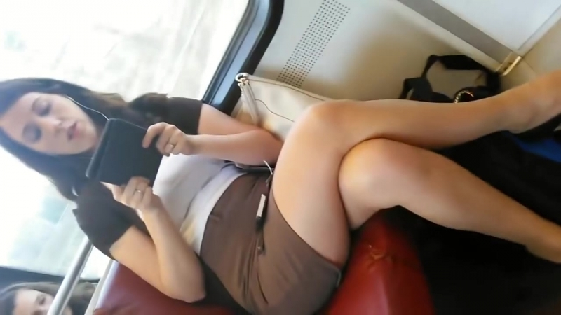 Bare Crossed Legs and Heels on Train