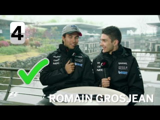 Force India's Sergio Perez and Esteban Ocon - F1 Grill The Grid 2017
