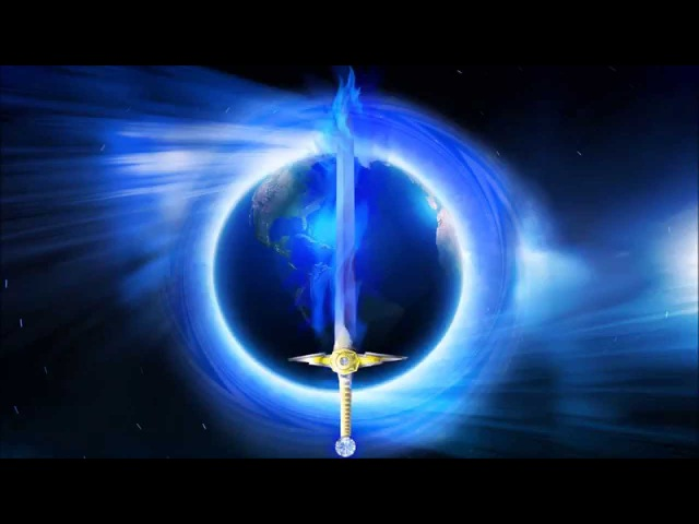 Astrea Circle and Sword of Blue Flame Over Earth