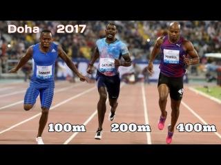 Финалы 100m 200m 400m Бриллиантовой Лиги в Дохе.