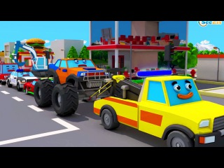 The Tow Truck & Police Car Heroes in City Big Accident Cars & Trucks Team Cartoon for children