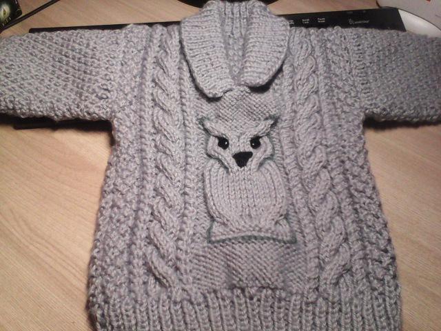 Мастер-класс 1ЧАСТЬ детского свитера с совой спицами,связанного для мальчика.