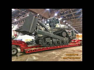 Loading and moving the World's largest hydrostatic bulldozer, the Liebherr PR776