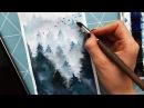 How to Paint Fog With in the mist Как рисовать деревья лес в тумане акварелью