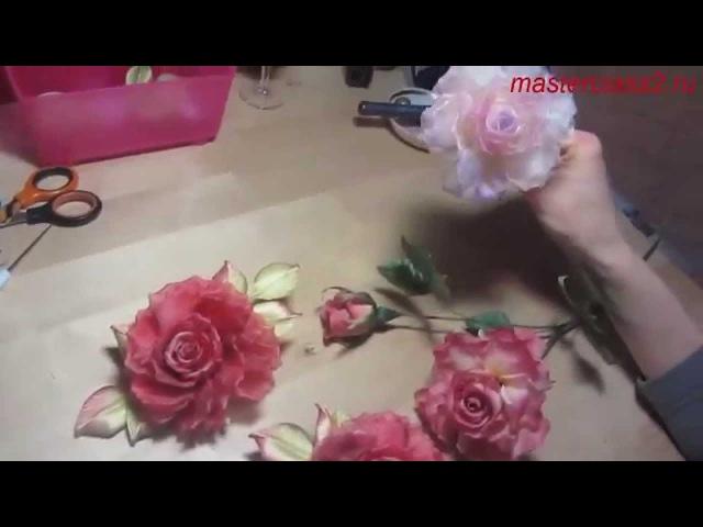 Мастер класс Роза из ткани в японской технике полный