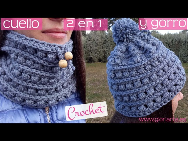2 en 1 Cuello y gorro de ganchillo a la vez. Scarf and crochet hat at the same time.