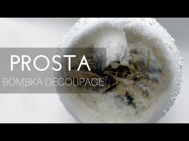 Bombka decoupage z okienkiem – papier ryżowy i pasta śniegowa, DIY tutorial