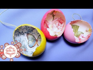 Подвески-украшения из яичной скорлупы. Пасхальный декор. Декор с применением техники декупаж